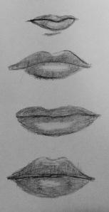pencil drawing of human lips