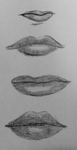 pencil drawing of human lips